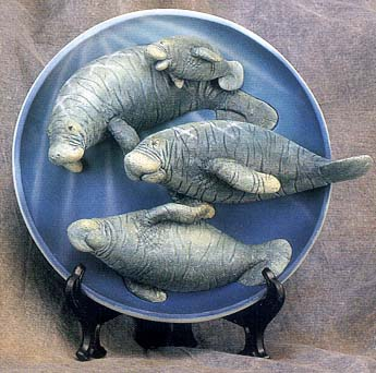 Manatee Family 3-D Collectible Plate