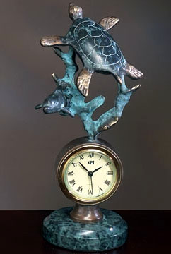 Sea Turtle On Marble Base Clock Dolphins Unlimited