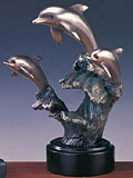 Bronze Plated Trio Dolphin Sculpture