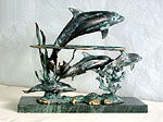 Five Dolphin Sculpture on Marble Base