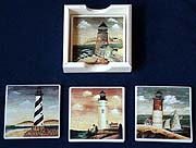 Lighthouse Coasters & Wooden Holder - Set of 4