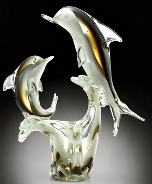 Art Glass Double Dolphins Sculpture