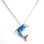 Blue Opal Leaping Dolphin Pendant