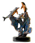 """Tenderness"" Trio Dolphin Sculpture By Donjo"