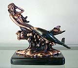 Copper Coated Mermaid & Single Dolphin Sculpture