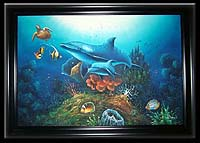 Mother & Baby Dolphin Oil Painting (Large)