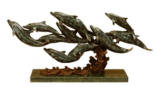 Art Finish 12 Dolphins On Marble Base Sculpture Dolphins
