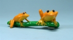 Double Orange Tree Frogs on Branch Magnet