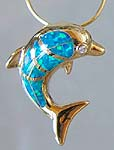 18K Gold with Opal Dolphin Pendant