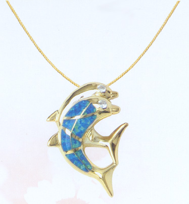 18K Gold with Opal Duo Dolphins Pendant