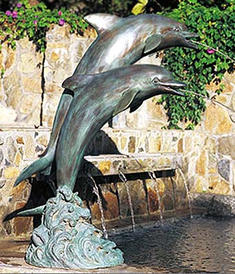 "38"" Dual Leaping Dolphins Fountain"