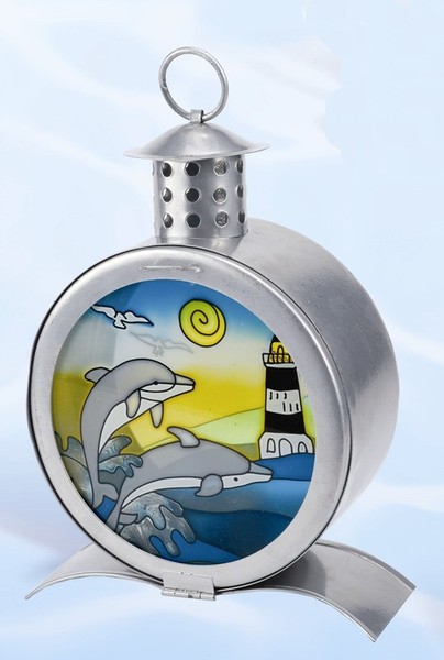 Dolphin and Lighthouse Hand Painted Glass Candle Lamp