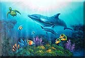 24x36 Dolphin & Sea Turtle Oil Painting