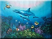 "24"" x 36"" Dolphin & Sea Turtle Oil Painting"