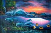 Four Dolphins & the Wave Oil Painting