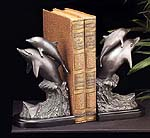 Two Dolphins Jumping Bookends