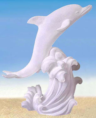 Dolphin Riding on Wave Lucite Sculpture